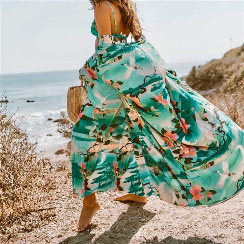 Backpacks Cotton Long Beach Dress Saida De Praia Beach Cover Up Kaftan Sarong Vestido Print Swim Wear Ropa De Playa Tunic Beach