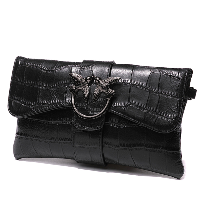 Fashion Women's Birdie Buckle Clutches Purse Banquet Wristlet Genuine Leather Clutch Wallet Shoulder Crossbody Bag Handbag Black vintage serpentine genuine leather woman clutches evening bag crossbody chain shoulder bag handbag clutch wallet lady long purse