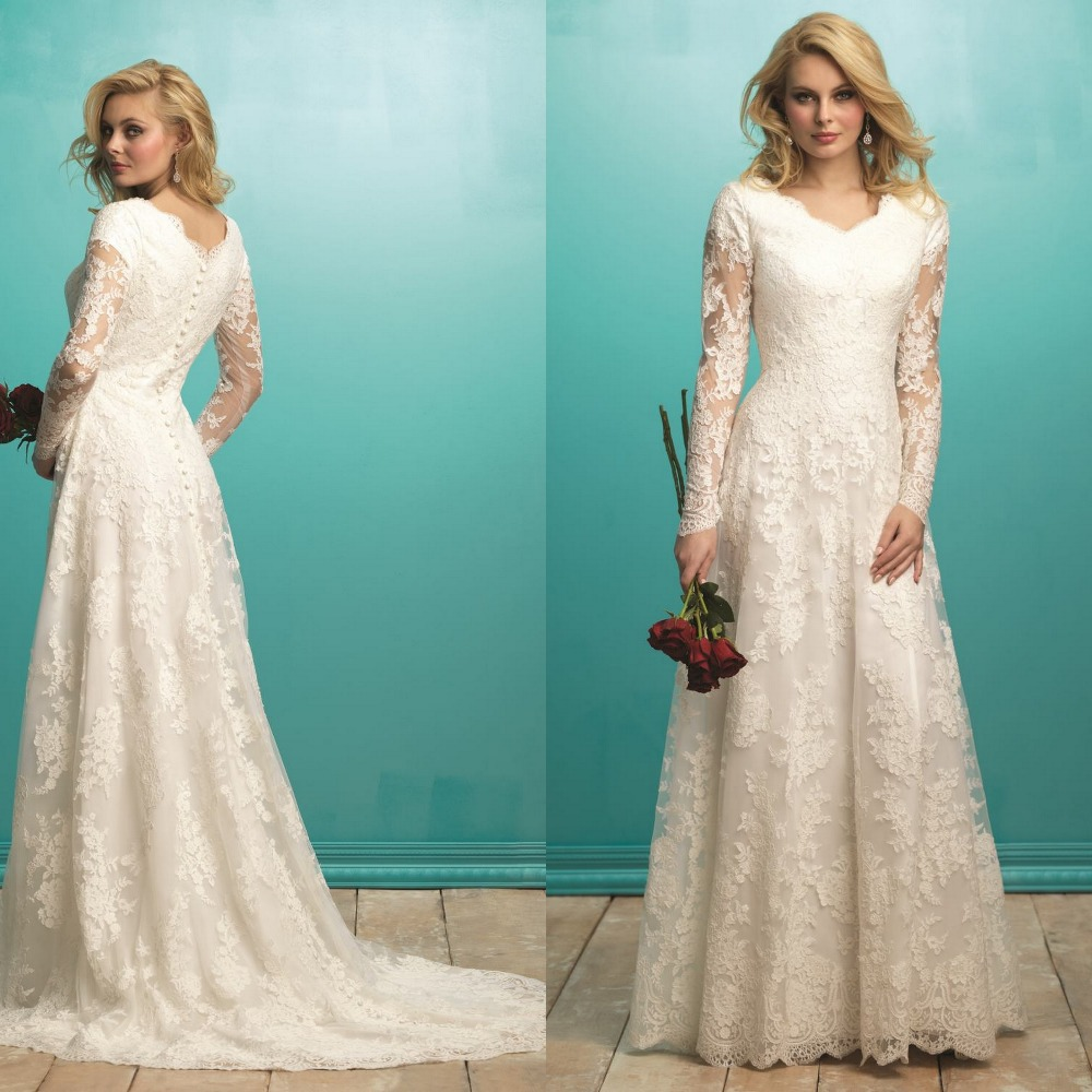 2015 Designer Wedding Gowns: Women New Design 2015 Lace Full Sleeved Wedding Gown Long