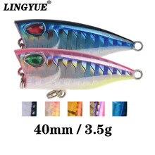 Lingyue iscas de pesca poper duras para água, 1 peça, 4cm/3.6g, para pesca maleável ganchos de pesca equipamento de pesca