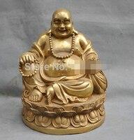 0 10 China Brass Happy Buddha Maitreya Monk Bronze Statue Blessing Fu Figurine