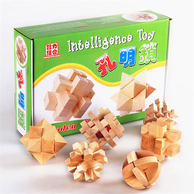 3D Clásico Cubo Inteligente Kong Ming 6 Unidades Set Madera Juguetes Educativos Para Niños Juguete Tradicional china CL0346H