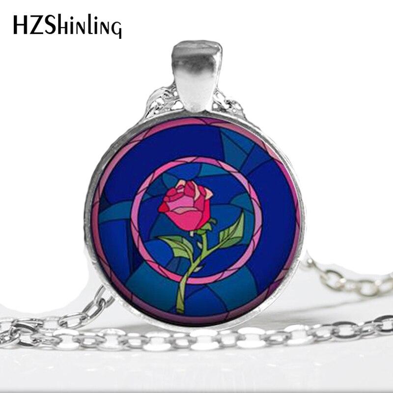 HZ--A449 nouvelle belle et la bête collier Rose pendentif bijoux Art verre Cabochon collier HZ1