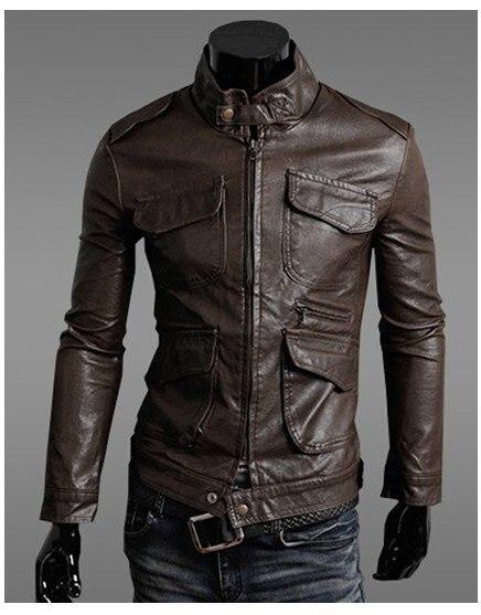 POP HOMME  Stand Collar Biker Multi Pocket Zipper Leather Men's Jackets