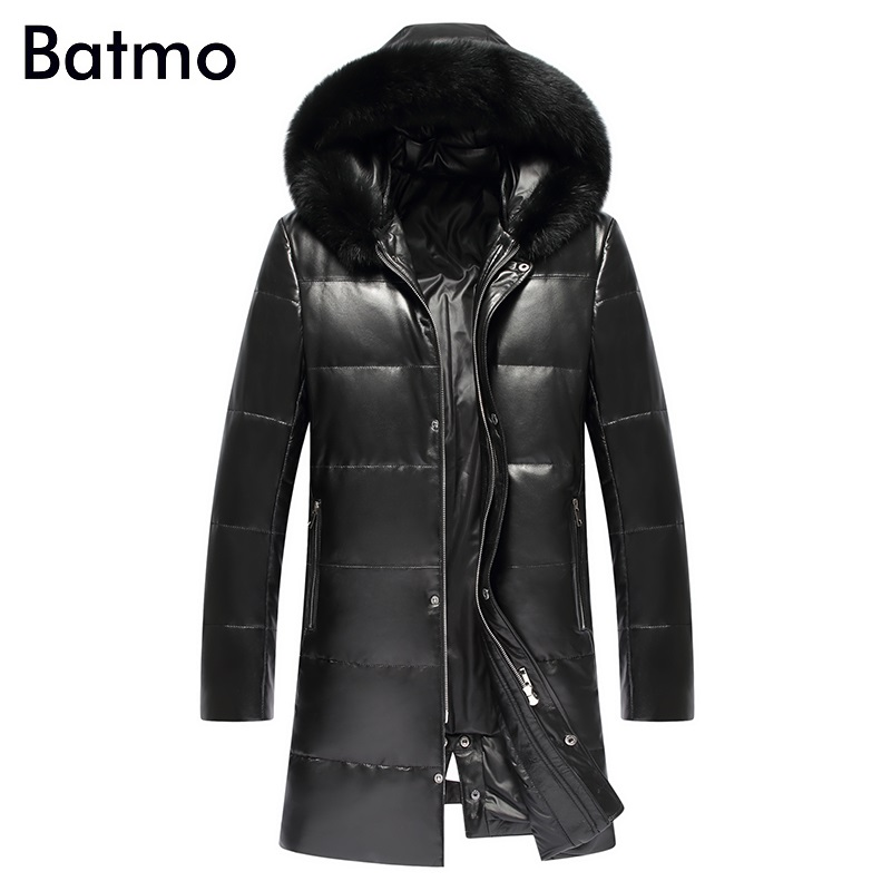 Batmo 2017 new arrival winter thick keep warm white duck down sheepskin real leather men's hooded coat,size L,XL,XXL,XXXL,4XL