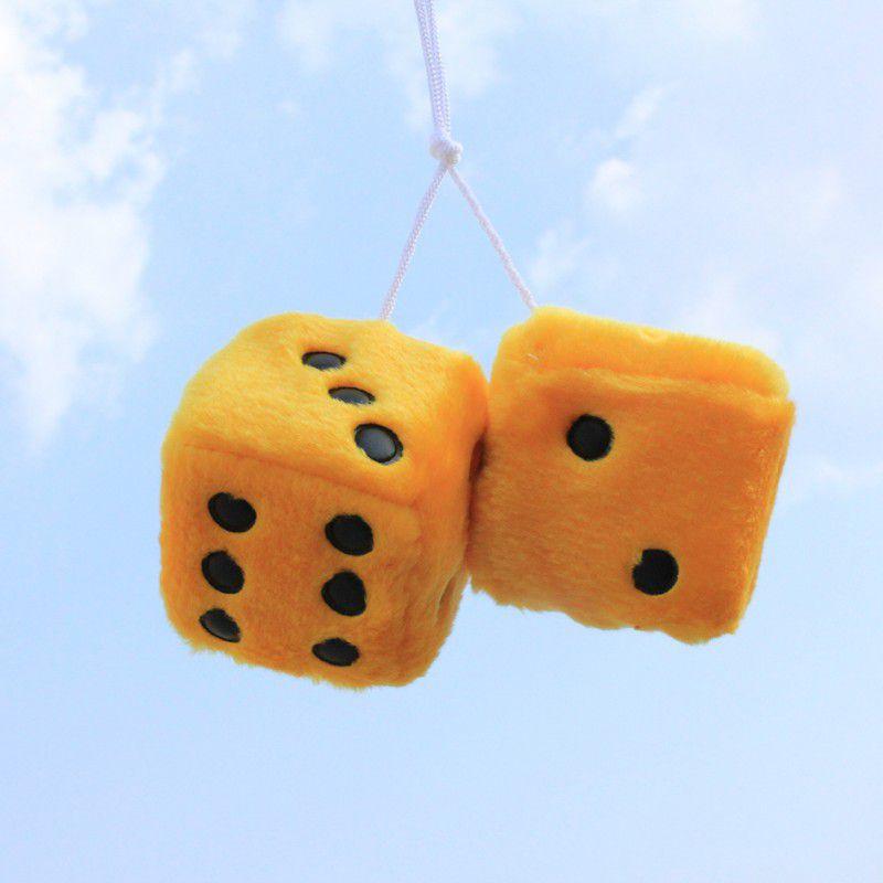 Автомобильные украшения-игральные кости разноцветная милая плюшевая игральная кость клейкий диск зеркало автомобиля Haning подвеска Украшение автомобиля брелок украшения - Название цвета: Цвет: желтый