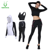 Autumn Winter suits women bra leggings jackets slim fitness suits sets 3pcs/set