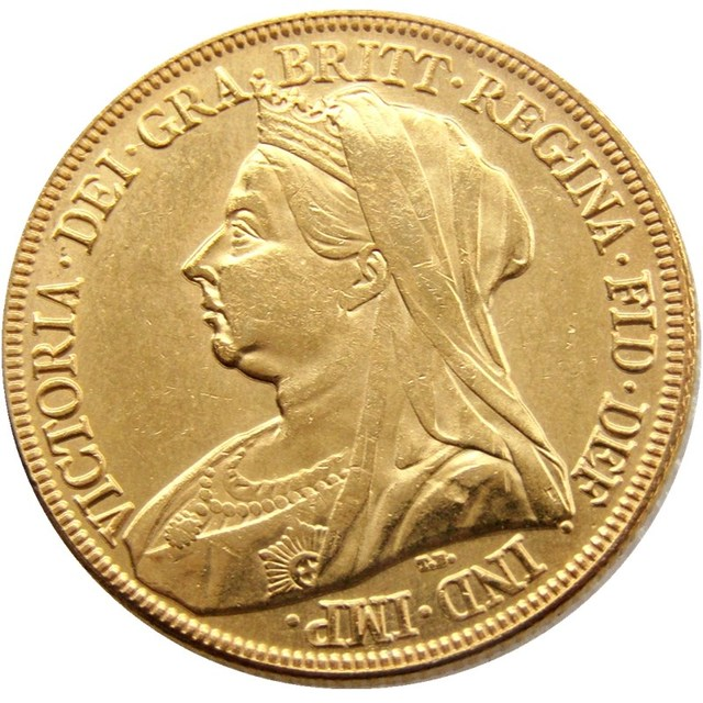 1893 Great Britain Queen Victoria Proof 1 Sovereign Gold Coin
