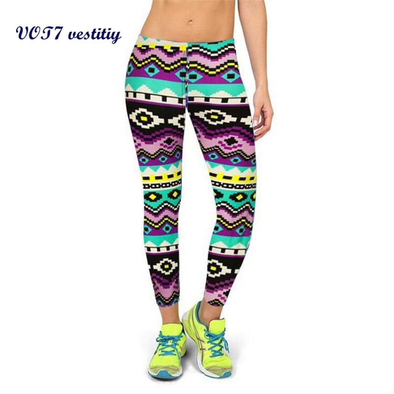 VOT7 vestitiy 2017 hotsale High Waist Fitness Flat Pants Printed Stretch Cropped Leggings lady Leggings Sep 6