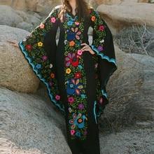 Vintage  Women Wind Print V-neck  Maxi Dress Trumpet Sleeve Long Sleeve Boho Dress недорого