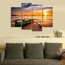 5 pieces Wall Art Picture Gift Home Decoration Canvas Print painting beautiful sea Sunset boat Prints wholesale HX-071-1 Framed
