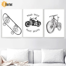 Bike motorcycle Skateboard Nordic Posters And Prints Wall Art Canvas Painting Black White Cartoon Wall Pictures Kids Room Decor(China)
