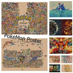 Pokemon Pikachu Poster Retro Poster Wall sticker Japanese Anime Poster Pikachu