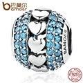 Bamoer 2017 novo 925 prata coração a coração encantos Azul com Pequenos Cristais Beads Fit Charme Pulseiras Finas Jóias SCC082