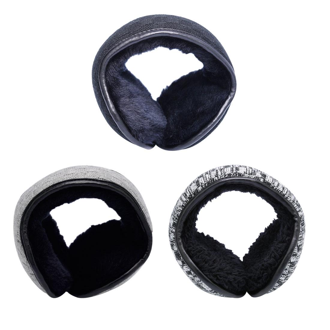 Charming Winter Knitted Earmuffs For Men Women Foldable Ear Warmers Ear Bag Adjustable Warm Plush Earmuffs Earflap Back Wear
