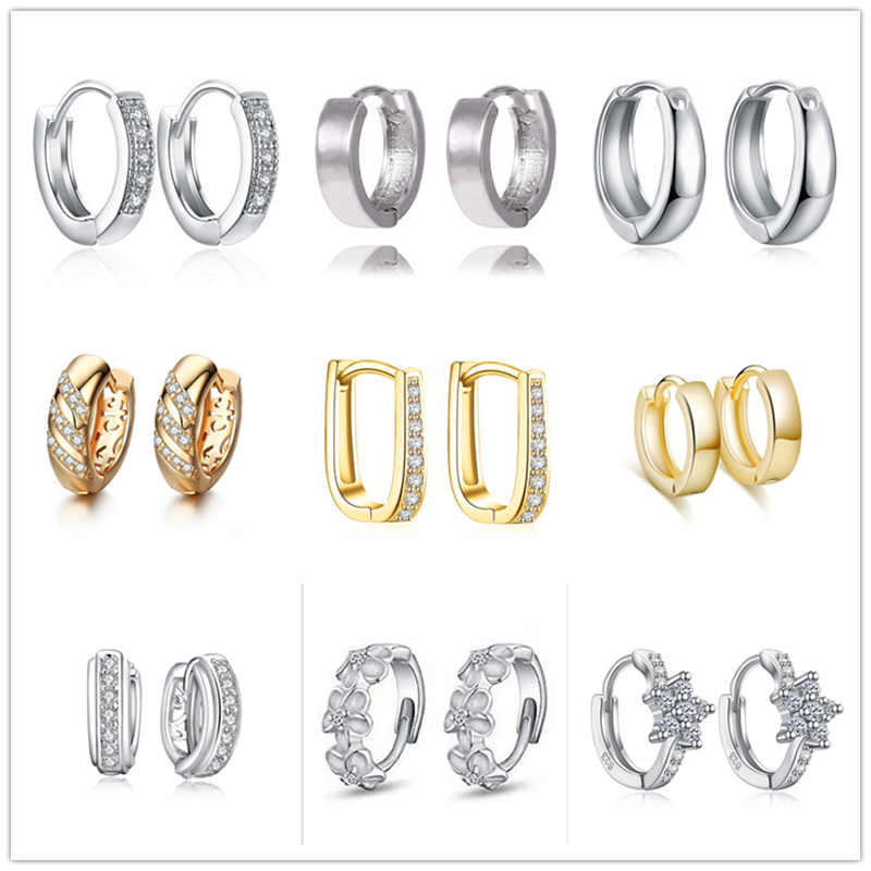 SHUANGR 32 Pairs Different Style Punk Geometric Metal Small Circle Hoop Earrings for Womens Girls Fashion Jewelry