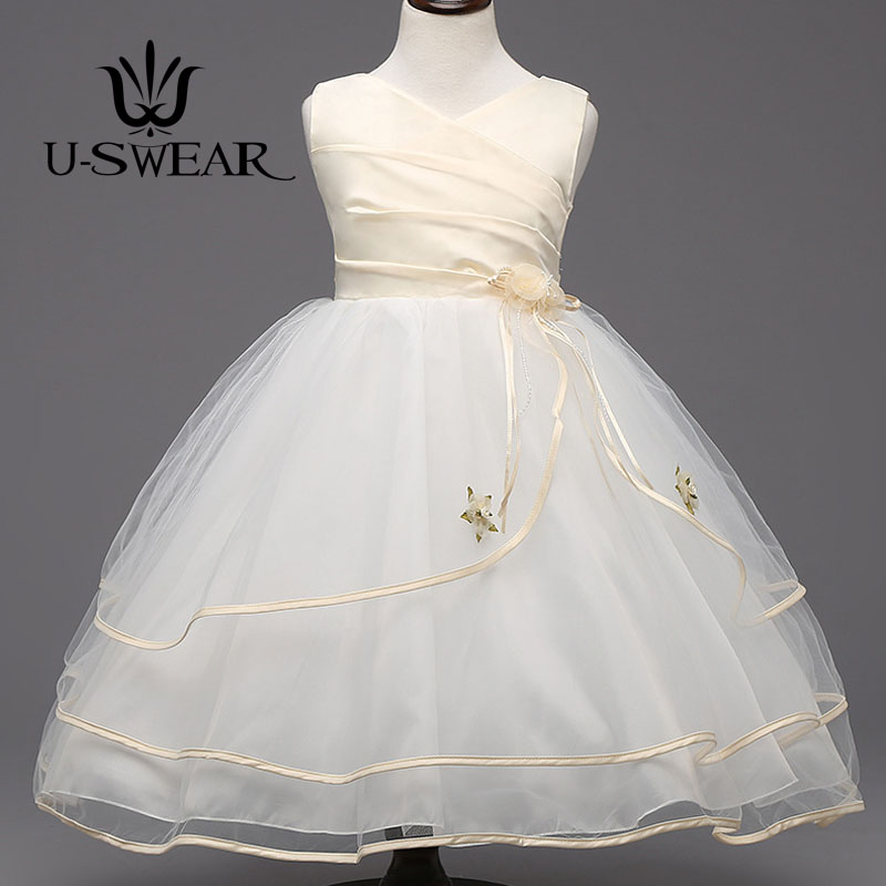 U-SWEAR 2019 New Arrival   Flower     Girl     Dresses   V-Neck Sleeveless   Flower   Appliqued Ribbon Side Chiffon Ball Gown Vestidos