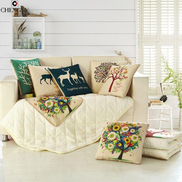 Kussens kat uil elanden boom slapen woonkamer decoratie ...