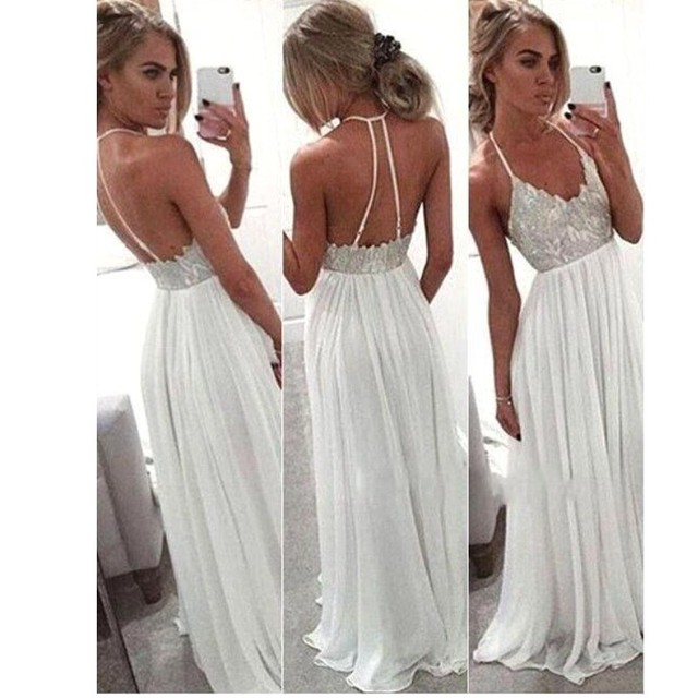 a3761050148 Moderno Blanco Largo Del Halter Vestido de Fiesta 2016 de La Gasa de  Cuentas vestidos de