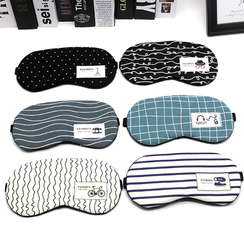 Cartoon Sleeping Mask Eyepatch Soft Eye Sleep Mask Fashion Striped Cotton Eye Cover Travel Relaxing Sleeping Aid Blindfold