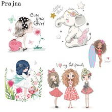 Prajna Fashion Beauty Girl Unicorn Heat Transfers Ironing Stickers Transfer Vinyl Clothes Patch DIY Accessories Applique
