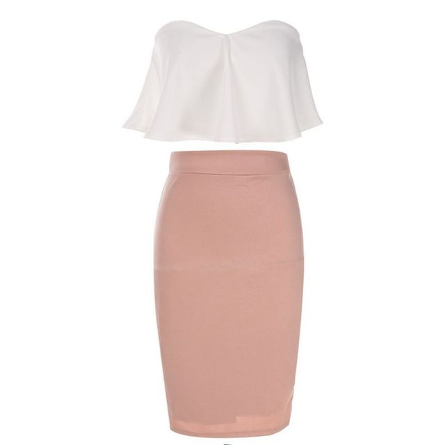 9e16ed8270 Brand Fashion Women Sexy Strapless Ruffle Crop Top Pencil Skirt Bandage  Bodycon Ladies Party Dresses Set