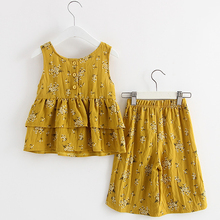 ФОТО  girl clothing sets 2018 new summer o-neck pure cotton  sleeveless t-shirt vest+pants 2 pcs kids clothing sets children clothing