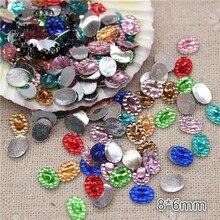 500pcs 8 6mm Mix Colors Oval Acrylic Rhinestone Flatback Cabochon Art Supply  Decoration Charm Craft 8973c537ba07