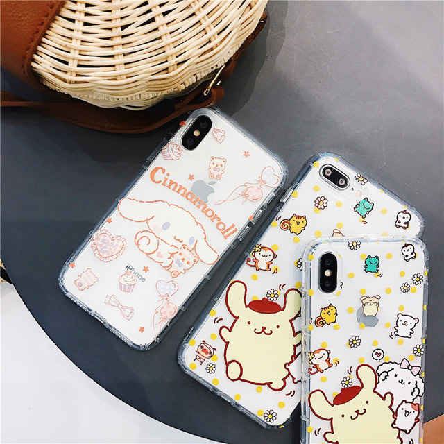 Cartoon Pompompurin Cinnamoroll Dog Phone Case For I Phone 6 6s 7 8 Plus X Xr Xs Max Air Cushion Shockproof Cover Fundas Coque by Luyiyangda