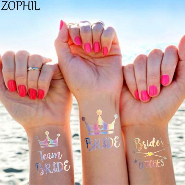 10pcs Wedding Decoration Temporary Tattoos Stickers Team Bride To Be Bridesmaid Bride Tribe Bachelorette Hen Party Flamingo