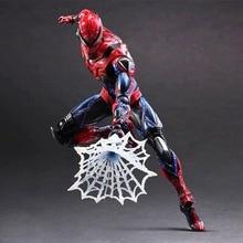 Play Arts Kai Spider Man Spider Venom Spiderman PA Figure Secret Wars Peter Parker 27cm PVC Action Figure Doll Toys Kids Gift