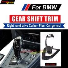 цена на A+C Style For BMW X5 X6 E70 E71 F15 F16 E53 Right hand drive Carbon Fiber car Gear Shift Knob Cover&Surround Cover interior trim