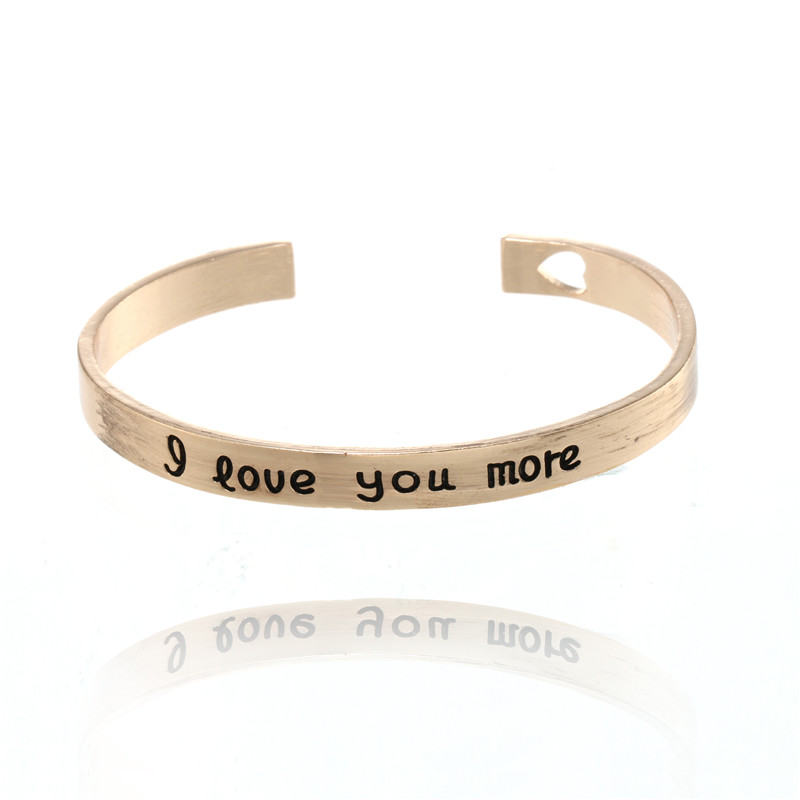 Trendy Gold Silver Bracelet Femme Carving I Love You More Hollow Heart Lovers Bangles For Women Open Bracelet Charms Jewelry