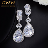 Elegent 5 2 Cm Water Drop Shaped AAA Cubic Zircon Diamond Crystal Bridal Long Earrings Wedding