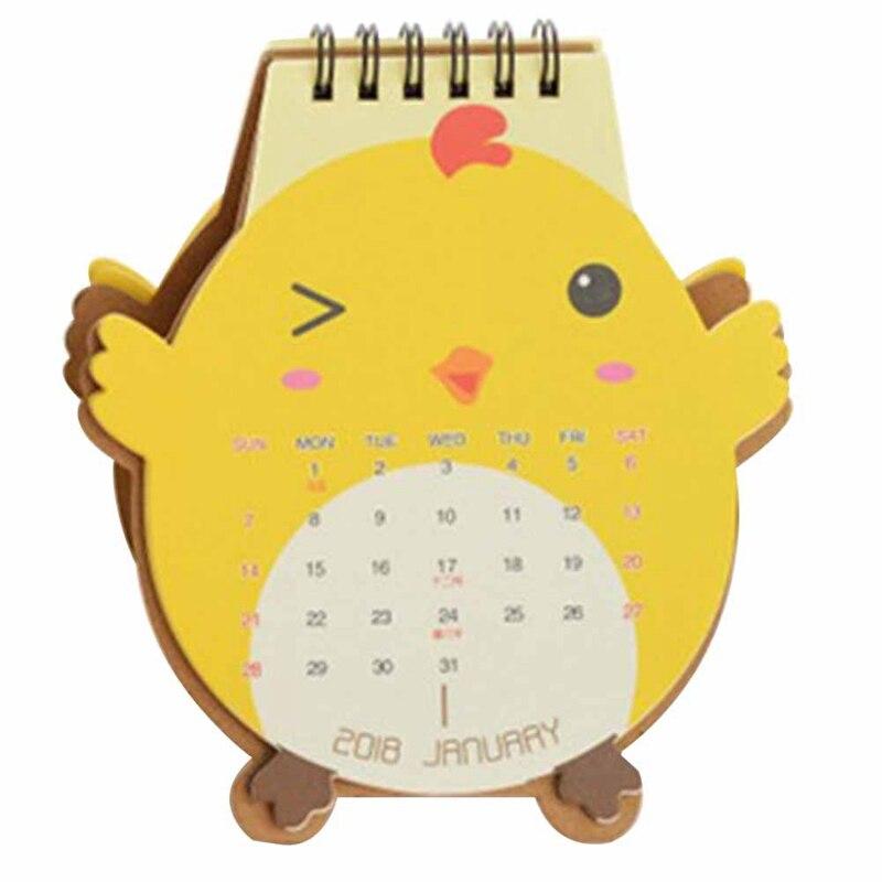 Cute Cartoon Animal  Shape Mini Desk Calendar 2018 Kawaii Small Desk Calendar