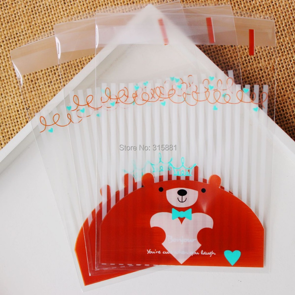 Brown bear Self Sealing Wrapping Bags,Cookies,Snacks,Party, Favor ...