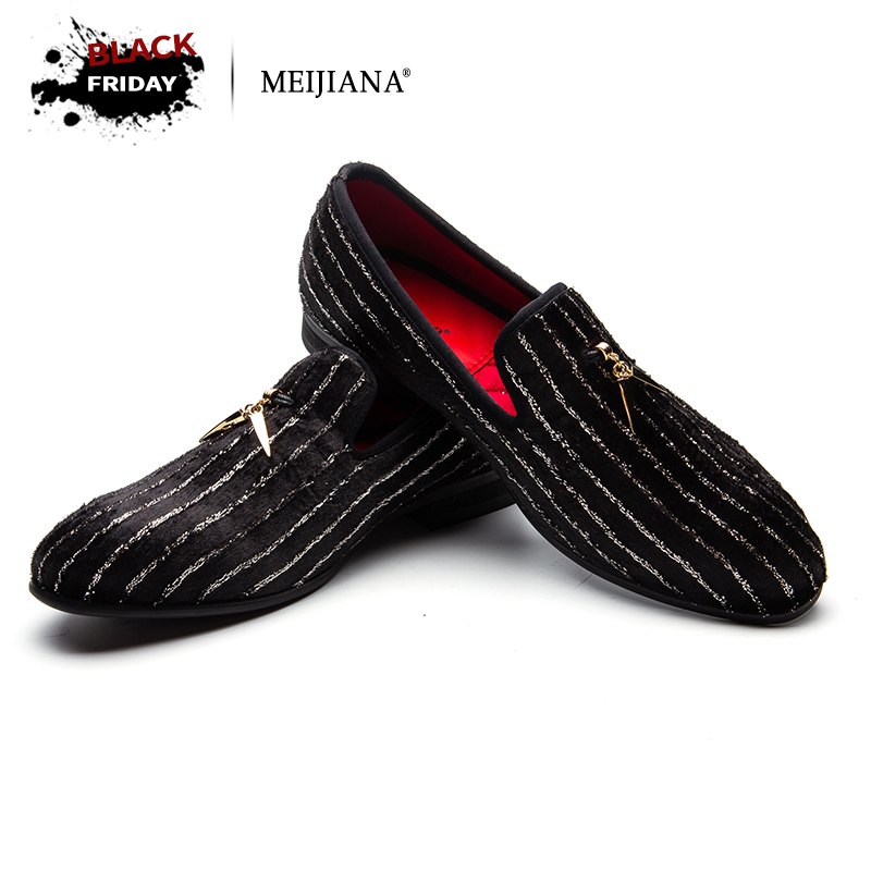 MEIJIANA Striped Loafers Men Flats Crystal Slippers Black/Red Suede Slip-on Strass Dress Shoes Wedding Party ларес люстра strass black f black ni lip