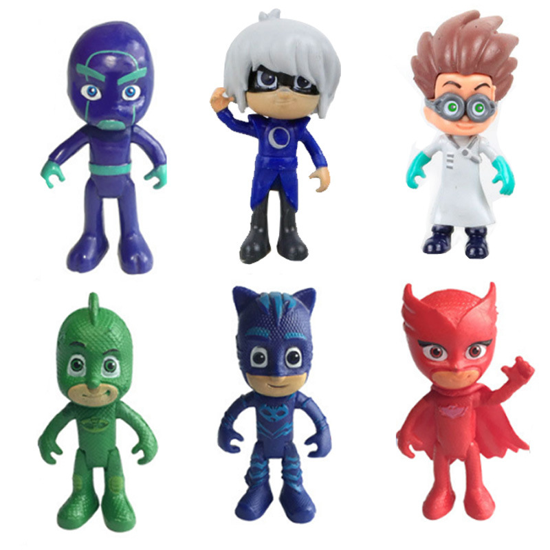 pj masks figure 6pcs pj masks characters catboy owlette gekko cloak action figure toys. Black Bedroom Furniture Sets. Home Design Ideas