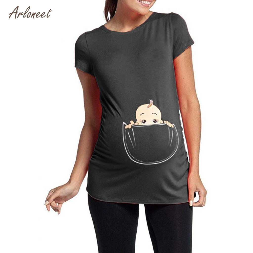 474f1ce0abe15 ARLONEET New arrival Cute funny baby Short Sleeve Pregnant Women T-shirts  Maternity Tees Clothes