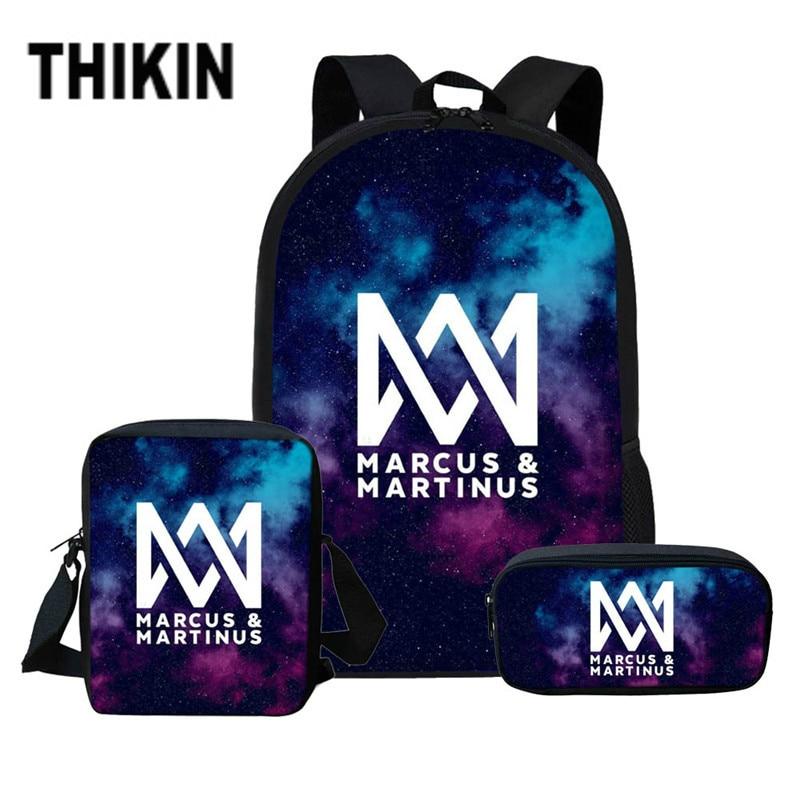 THIKIN School Bag Set Marcus and Martinus Custom Schoolbags for Teenage Boys Girls School Backpacks 3 PCS/SET Casual Book Bags|School Bags| |  -