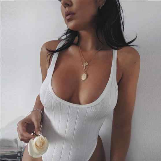 Knitted Sexy Summer Bodysuit Women Top White Sleeveless Bodycon Rompers Womens Jumpsuit Casual Skinny Playsuit Body Suit RQ595