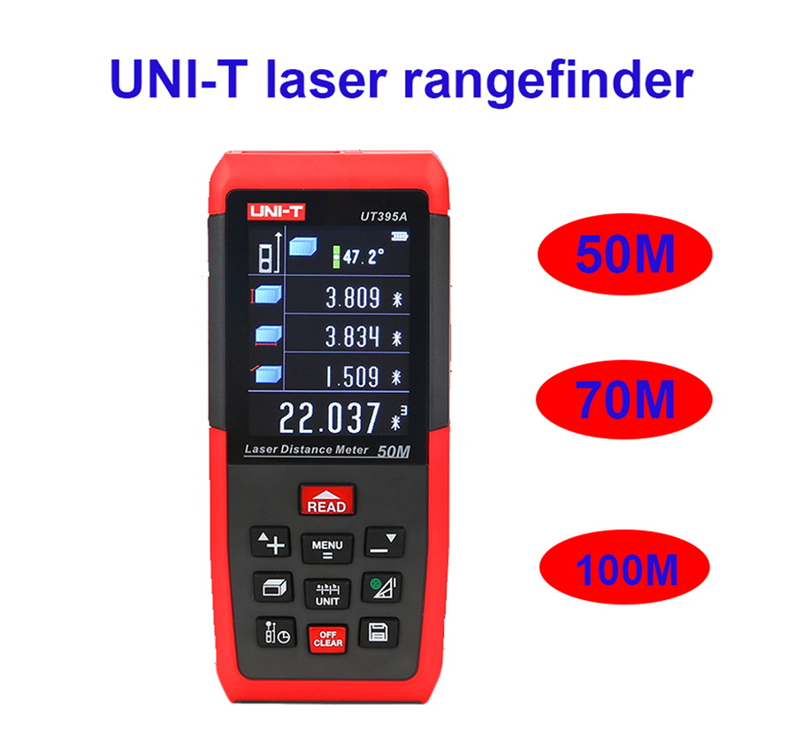 UNI-T UT395ABC laser rangefinder range finder distance meter tester 50M 70M 100M volume area angle high precision rechargeable high quality new gm100d photoelectric laser distance meter volume tester 100m range finder