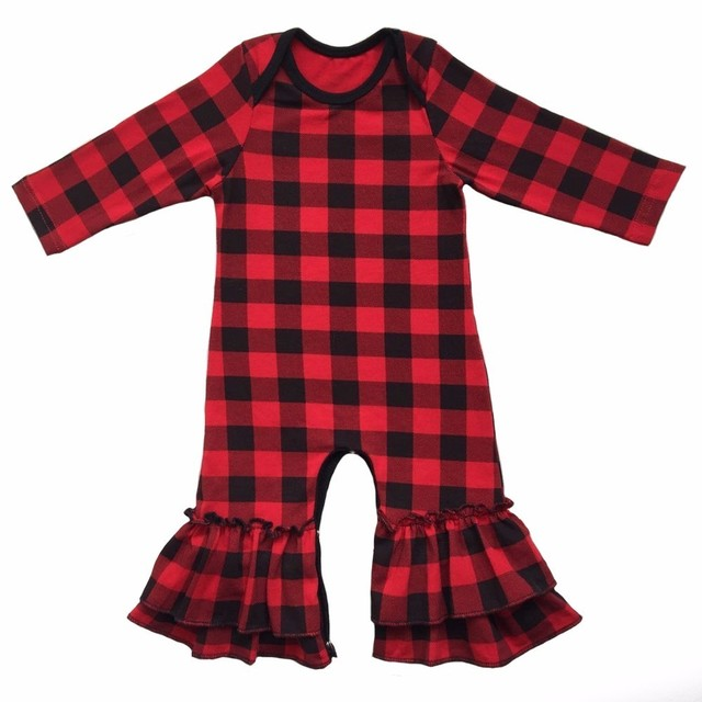 cbae066fa Newborn Baby Girl Romper Fall Winter Long Sleeve Ruffle Red Black Plaid  Baby Onesie Infant Cotton