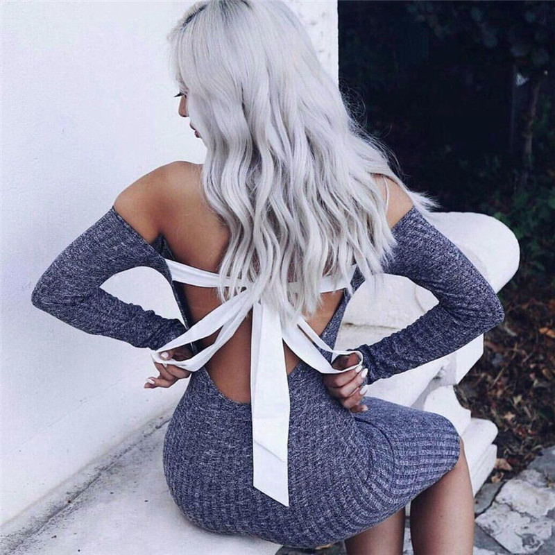 New Style Women Female Dresses Dress Sexy Bodycon Backless Off Shoulder Long Sleeve Party Knitted Dress Dresses For Women 11#20 cute off the shoulder lemon dress for women