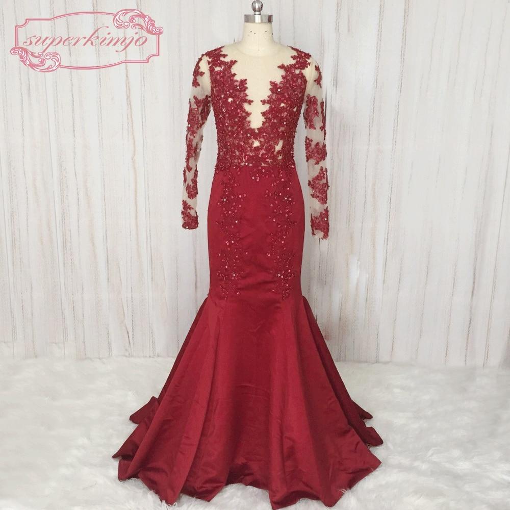 SuperKimJo लंबी आस्तीन बरगंडी - विशेष अवसरों के लिए ड्रेस