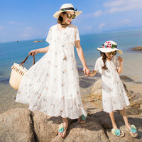 Family Matching Clothing Mother and Daughter Dress Kids Dresses for Girls Baby Flowers Beach Dress Children's Princess Dresses