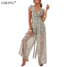 GIKING Sexy V-neck Summer Jumpsuit Women Floral Print Backless Chiffon Wide Leg Romper Sleeveless Boho Office Lady Playsuit 2019