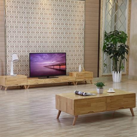 US $3479.89 11% di SCONTO Soggiorno Set Mobili Soggiorno Mobili Per La Casa  in legno massello di rovere Tavolini + Supporti TV + Soggiorno Armadi ...