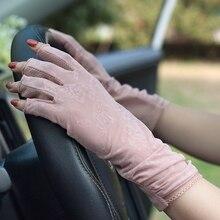 Summer Suncreen Gloves Semi-Finger Female Driving Anti-UV Ice Silk Half Finger Thin Style Women Finger-less Mittens TB50