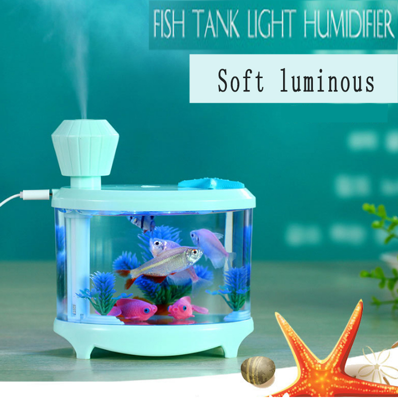 Creative novelty aquarium humidifier night light cold spray water humidification in night light instrument aromatherapy machine